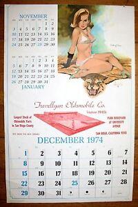 December 1974 Fritz Willis Pin Up Calendar Hillcrest San Diego