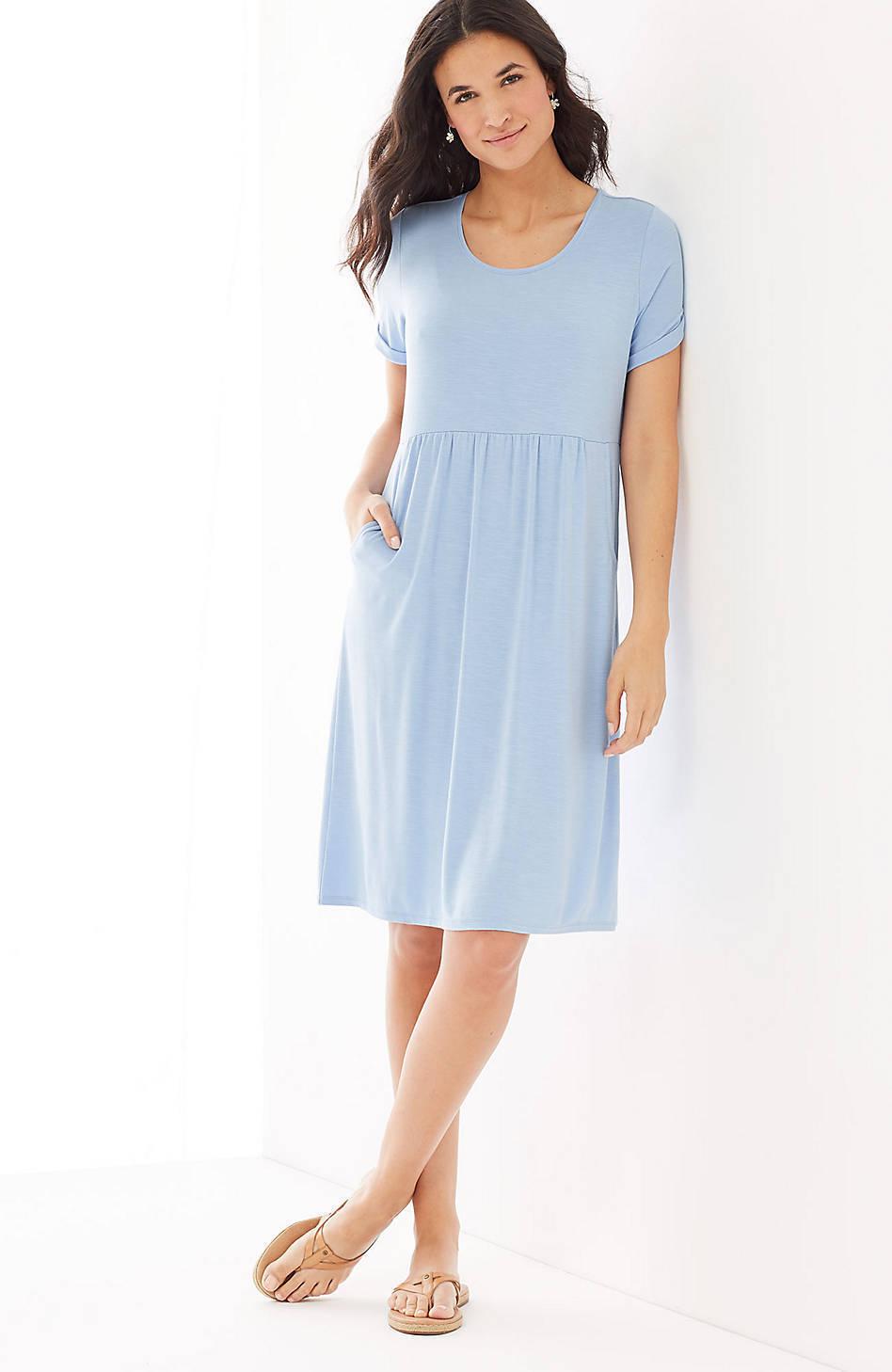 J. Jill - L(14 16) - Soft and Comfortable Clear Blau Scoop-Neck Knit Dress NWT