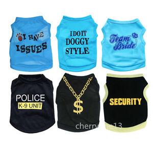 Boy-Pet-Dog-Clothes-T-Shirt-Puppy-Pajamas-Vest-Costume-Apparel-yorkie-Schnauzer