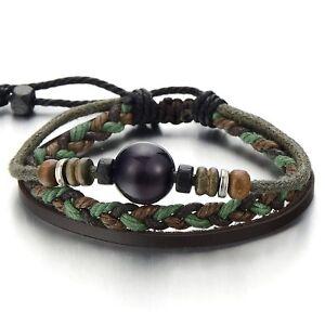 Multi-strand-Brown-Leather-Bracelet-for-Men-Women-Tribal-Leather-Wristband-Wrap