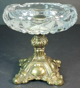 Vintage-Ornate-L-amp-L-Glass-Ashtray-Candy-Dish-w-Brass-Pedestal-5-034-8303