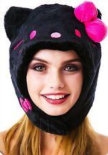 SAZAC Kigurumi Cap Sanrio Hello Kitty Black Cosplay Costume Party Plush Kawaii