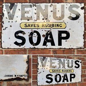 Antique Vintage Retro c1910-20s Original Venus Soap Enamel Shop Advertising Sign