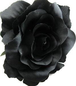 Full 5 goth black rose poly silk flower brooch pin locking bale image is loading full 5 034 goth black rose poly silk mightylinksfo