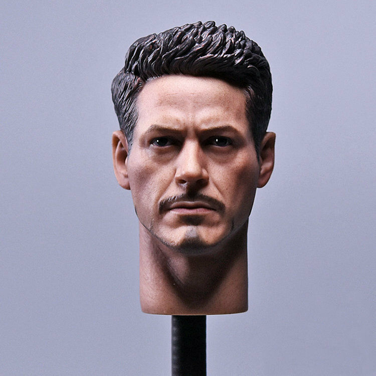 1 6 Scale Soldier Head Carving Accessories Tony Iron Man Head F12  Action Figure