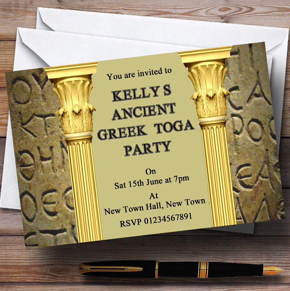 Ancient Greek Greece Toga Personalised Party Invitations