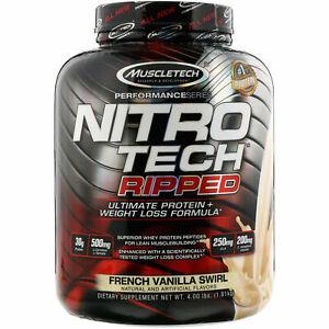 Muscletech Nitro Tech Ripped Ultimate Protein Fat CLA Chocolate Vanilla 2 4 lbs