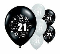 "8 x 21ST BIRTHDAY BLACK AND SILVER 12"" HELIUM OR AIRFILL BALLOONS (PA)"