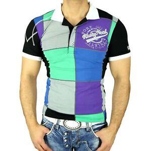 Rusty Neal Herren Poloshirt Japan Style Kurzarm Polo T-Shirt Hemd Schwarz R-5005
