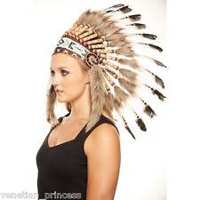 Brown Tip Feather Native American Indian Headdress Coachella SH009 USA SELLER