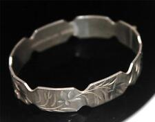 VINTAGE JUBILEE STERLING SILVER ETCHED FLOWER WIDE BANGLE BRACELET 1977 /W 802