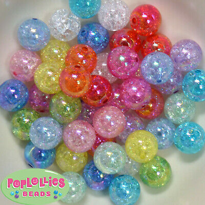 16mm Pink Acrylic Crackle Bubblegum Beads Lot 20 pc.chunky gumball