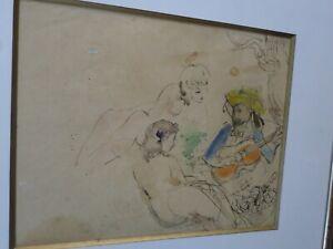 Ponctuel Ludwig Klimek (1912-1992) -pologne-tableau-encre/aquarelle-la Sérénade-cadre Demande DéPassant L'Offre