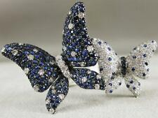 FANCY PAVE DIAMOND BLUE SAPPHIRE 18K GOLD TWIN BUTTERFLY COCKTAIL RING RG8795WDS