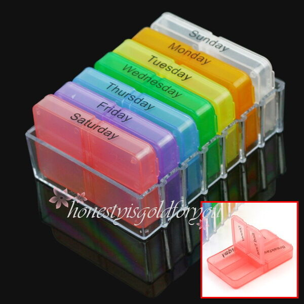 7 Day Tablet Pill Boxes Holder Weekly Medicine Storage Organizer Container Case