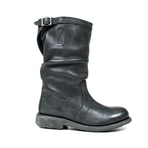 BIKKEMBERGS VINTAGE BOOT DYED OLD BLACK LEATHER PELLE STIVALI STIVALETTI 254 176
