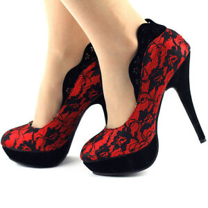 Ladies-Black-Red-Lace-Close-Toe-Platform-High-Heel-Pumps-Au-Size-4-5-6-7-8-9-9-5
