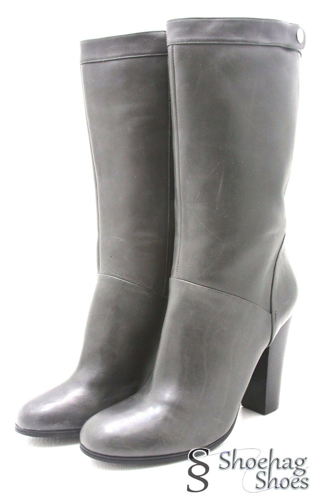 Nine 9 West Womens Knee Boots 9.5 M Armit Genuine Gray Leather Heels 9 EUC