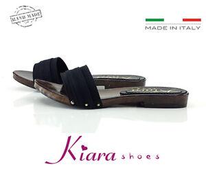 Zoccoli-Bassi-Neri-Scarpe-Made-in-Italy-35-36-37-38-39-40-41-42-Tacco-2-cm