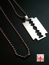 New Razor Blade Necklace Silver Stainless Steel Pendant Dog Tag Chain