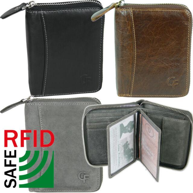 Homme Fermeture Éclair Portefeuille en Cuir Avec Protection Rfid Porte-Monnaie