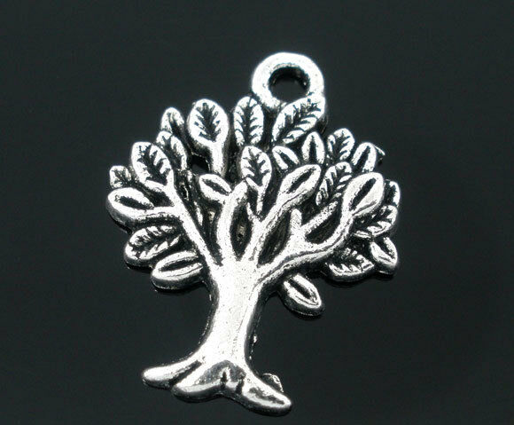 Großhandel Antiksilber Baum Anhänger Perlen Beads 22x17mm