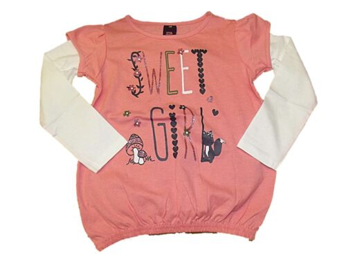 NEW GIRLS EX STORE SWEET GIRL L//S T-SHIRT TOP AGE 1-7 years Long Sleeved PINK