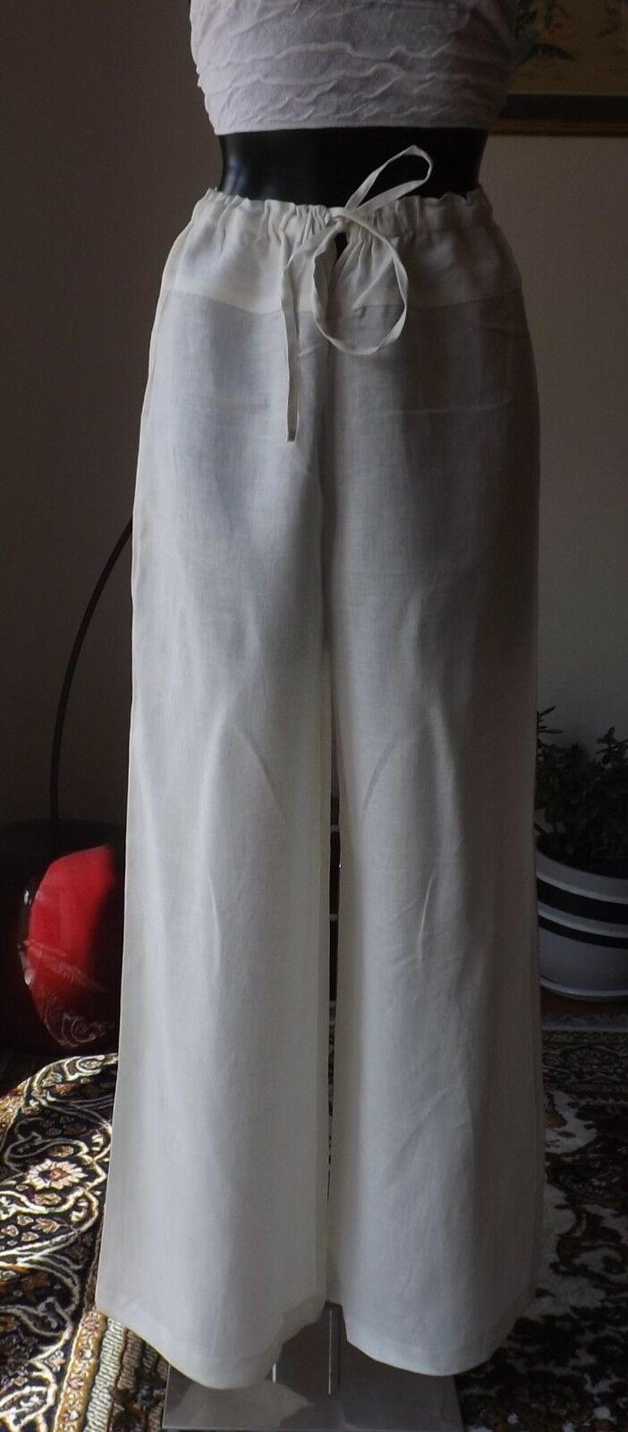 Women wear Sarah Pacini high waist 100% Linen Ivoire color size 2 trousers 7163