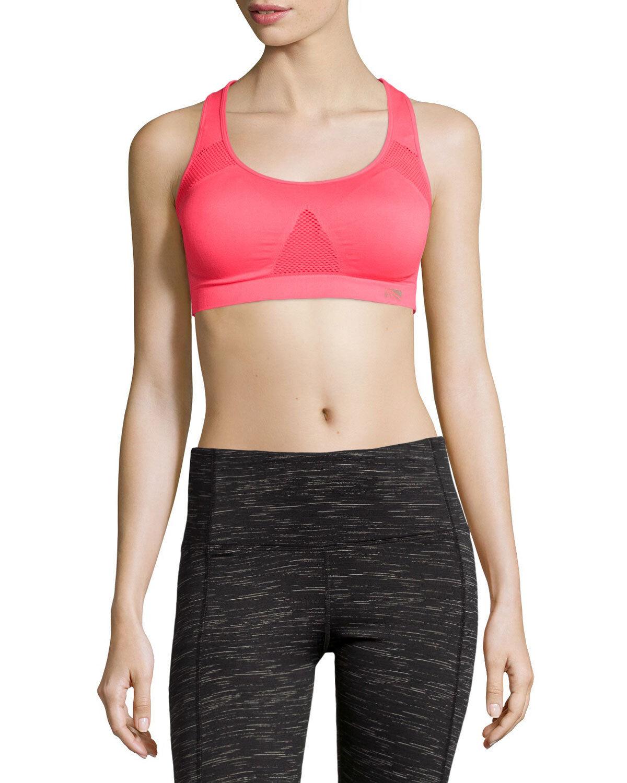 Marika Tek Women's Seamless Mesh Sports Bra Small Pink Carmine pink 1081