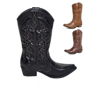 de1dea9aea6 Details about FREE SHIP Womens Ladies Cowboy Boots Western Cowgirl Pointed  Toe Wide Calf