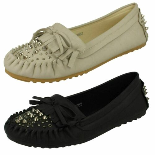 Spot On F8R962 Ladies Moccasin Shoe Black  Pu