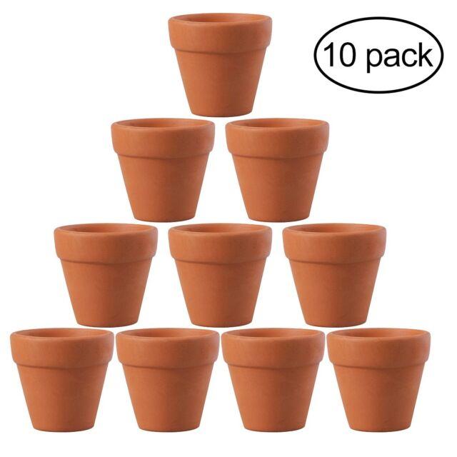 225 & 10x Mini Clay Ceramic Terracotta Pot Plant Pots for Wedding Favor Orange OUNONA