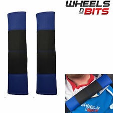 Black & Blue Stitch Seat Belt Harness Pads Should Straps PVC Leather for Volvo
