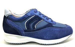 GEOX HAPPY U0162P NAVY scarpe uomo sneakers pelle camoscio interactive casual