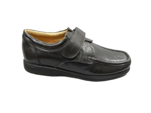 MENS LUCA MANCINI LEATHER VELCRO FORMAL WIDE FIT SHOES,BLACK BROWN 6-11 LM8887