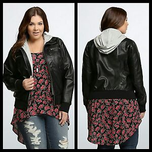 f2f699fa97d NWT Torrid Size 00 Medium Large 10 Black Faux Leather Jersey Bomber ...