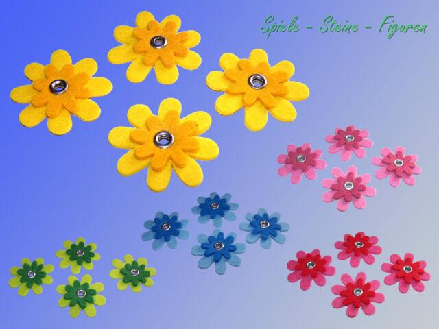 4 Stück Filz Blüten je Ø5cm, 2-lagig Filz Blume, Deko Blume, Bastelfilz