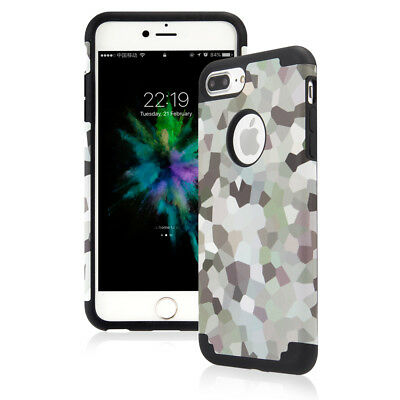 For iPhone 6S 7 8Plus Rugged Protective Print Case Shockproof  Rubber Hard Cover