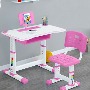 Height Adjustable Desk and Chair Set School Student Childs Kids Study Table.