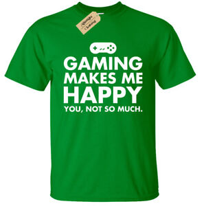 Kids Boys Girls GAMING MAKES ME HAPPY T-Shirt funny geek gamer ps4 xbox one