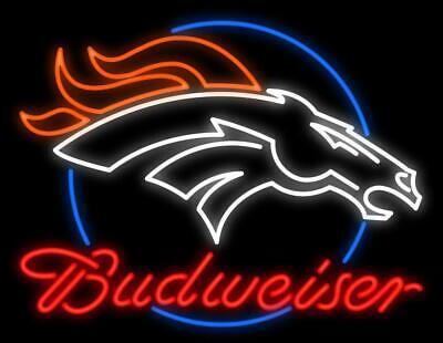 "New Denver Broncos Bud Light Logo Beer Bar Neon Light Sign 24/""x20/"""