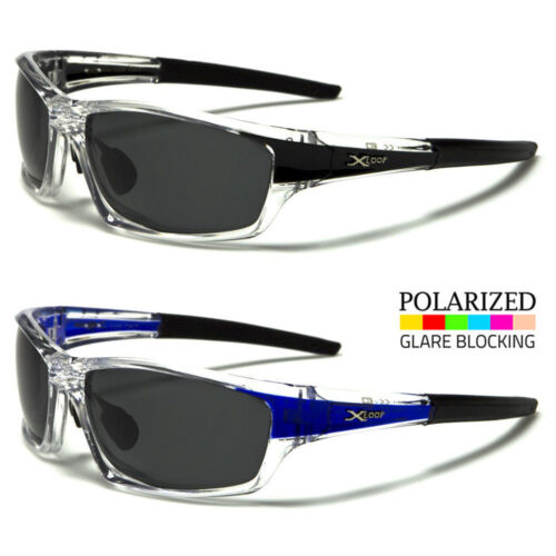 Polarized Black Lens Mens Transparent Frame Fishing Baseball Sport Sunglasses