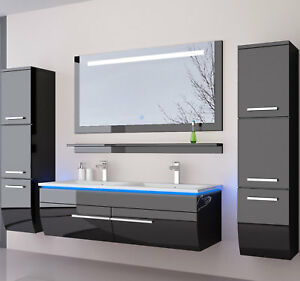 badmobel schwarz, doppelwaschtisch 120 schwarz weiss hochglanz doppel waschbecken, Design ideen