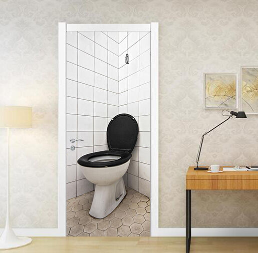 3D Toilette Tür Mauer Wandgemälde Foto Wandaufkleber AJ WALL DE Lemon