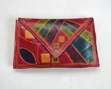 Vtg Rainbow Floral Patchwork Doily Knit Drawstring Clutch Hand Bag Sack Satchel