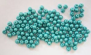 6mm Dark Turquoise 200 Glass Pearl Beads