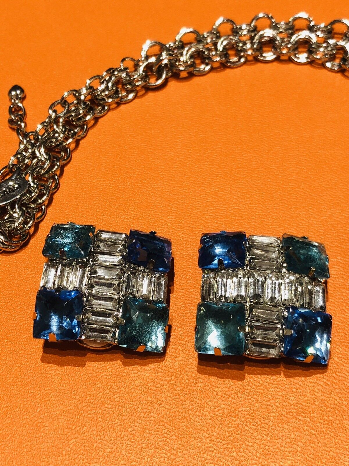 Arnold Scaasi Multi Color Crystal Square Necklace… - image 3