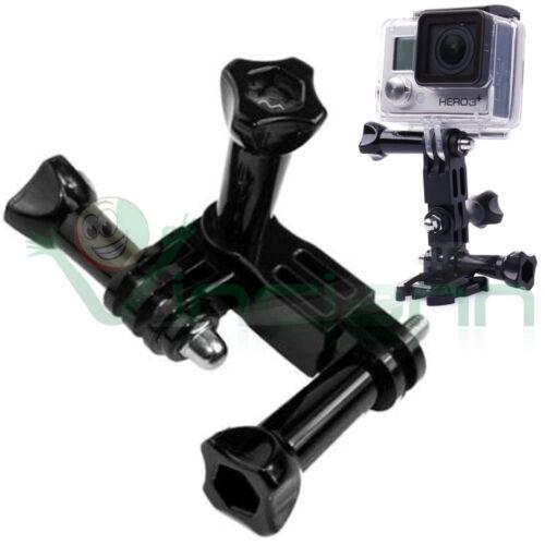 Adattatore 3 vie braccio perno ruotabile regolabile+viti per GoPro Hero 4 3 3 2