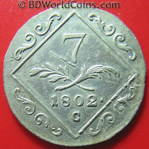 AUSTRIA-1802-C-7-KREUZER-SILVER-STRUCK-OVER-1795-12-KREUZER-XF-DETAILS-RARE-COIN