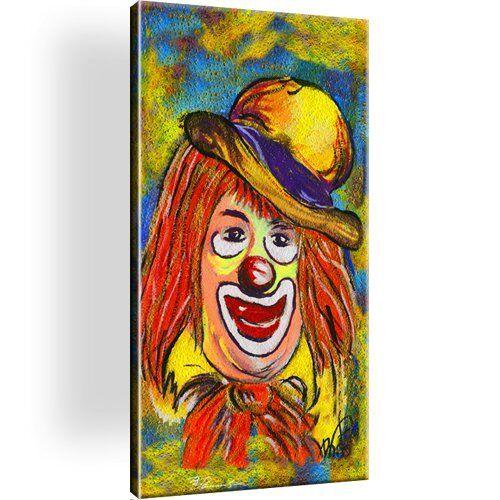 Clown Bild Bilder Leinwand Keilrahmen Wandbild Kunstdruck Dekoration